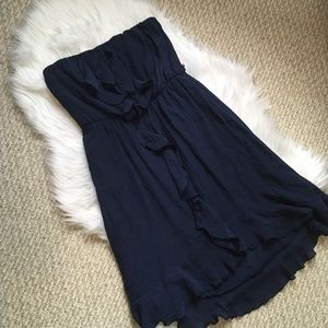 High-Low Navy Strapless Dress with Ruffles (Small)